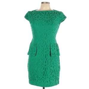 Gabby Skye green lace short sleeve peplum dress